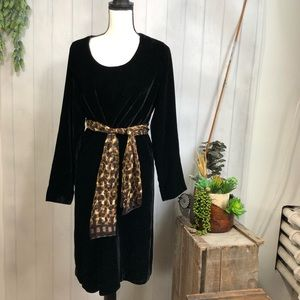 J. Jill Velvet Long Sleeve Dress M